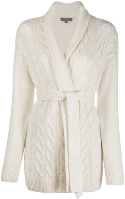 N.Peal Sequin-Embellished Cable-Knit Cardigan