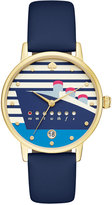 Kate Spade Women's Metro Navy Blue Leather Strap Watch 34mm KSW1138