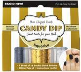 Elegant Touch Miss Candy Dip Nail Art - (x3 Glitter Pots | 18 Double Sided Nail Stickers) - Liquorice by Miss