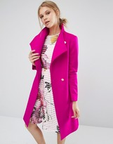 Ted Baker Aurore Long Wrap Collar Coat in Pink