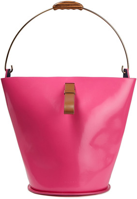 Marni Glossed-leather Bucket Bag