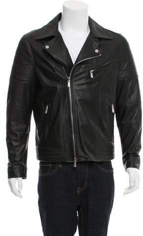 Eleventy Leather Moto Jacket