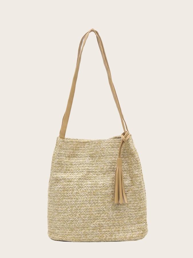 Shein Tassel Decor Woven Tote Bag