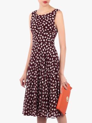 Jolie Moi Polka Dot Print Midi Dress, Burgundy