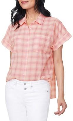 NYDJ Plaid Short-Sleeve Shirt