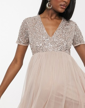 Maya Maternity Bridesmaid v neck maxi tulle dress with tonal delicate sequins in taupe blush