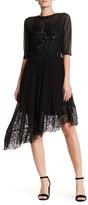 Karen Millen Pleat & Patchwork Lace Asymmetrical Skirt