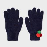 Paul Smith Women's Navy Flecked Wool Gloves With Pom-Pom Detail