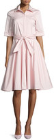 Badgley Mischka Belted Stretch Poplin Shirtdress, Pink