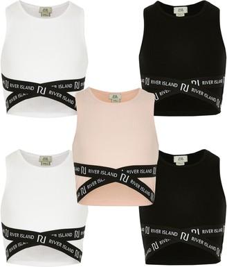River Island Girls Black 5 pack crop top set