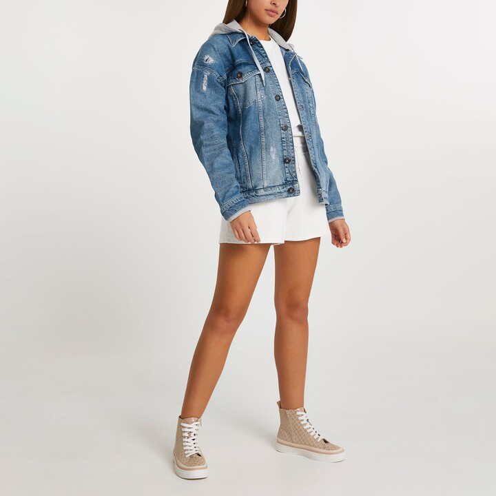 Thumbnail for your product : River Island Womens Denim oversized hooded jacket unisex