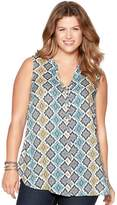 M&Co Plus mosaic print sleeveless shirt