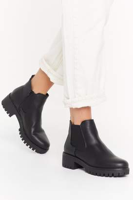 Nasty Gal Womens We Stand Unde-cleated Faux Leather Chelsea Boots - black - 3