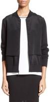 St. John Women's Stretch Silk Crepe De Chine & Mesh Bomber Jacket