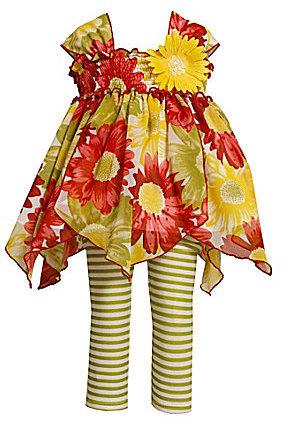Bonnie Baby Newborn Floral Chiffon Handkerchief-Hem Dress & Leggings Set