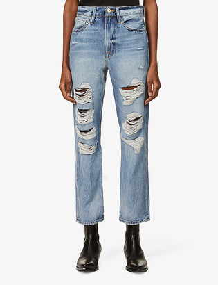 Frame Le Piper ripped straight mid-rise jeans