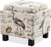 Kylee Bird Fabric Accent Storage Ottoman with Pillows, Quick Ship