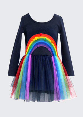 Hannah Banana Girl's Rainbow Pompom Long-Sleeve Tulle Dress, Size 4-6X