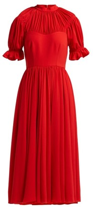 Emilia Wickstead Philly Gathered Crepe Midi Dress - Womens - Red