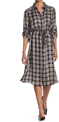 Max Studio 3/4 Sleeve Midi-Length Shirt Dress