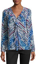 Laundry by Shelli Segal Picot-Edge Ruffle-Front Blouse, Blue Pattern