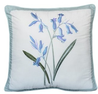 Nostalgia Home Fashions Nostalgia Home Josephine Square Blue Flowers Decorative Pillow