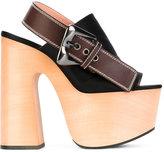 Rochas slingback platform sandals - women - Wood/Leather/Silk Satin/rubber - 41
