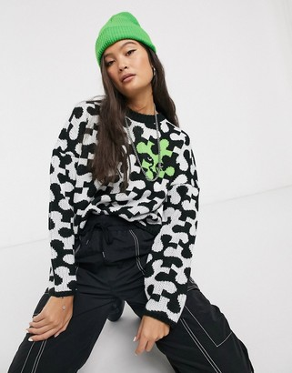 Obey knitted jumper in logo puzzle piece-Black