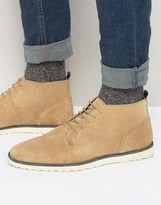 Asos Lace Up Boots in Stone Suede With White Wedge Sole