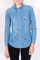 Maison Scotch Embroidered Denim Shirt