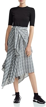 Maje Rapri Color-Blocked Geo Print Midi Dress