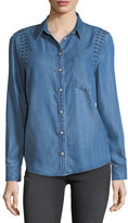 Velvet Heart Embroidered Long-Sleeve Denim Shirt