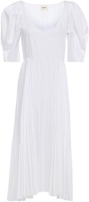 KHAITE Caitlin Asymmetric Pleated Cotton-poplin Midi Dress