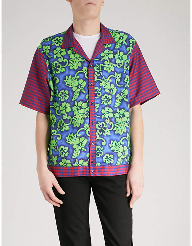 DSQUARED2 Floral and gingham-print woven shirt