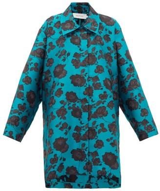 Marques Almeida Marques'almeida - Oversized Floral-jacquard Coat - Womens - Blue Multi