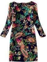 J.cotton Autumn /Winter Floral Print Long Sleeve Boat Neck A-line Midi/ Tunic Casual Dress (L, )