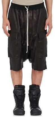 Rick Owens Men's Pod Leather Cargo Shorts - Black