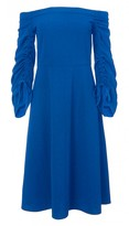 Tibi Structured Crepe Off-the-Shoulder Midi Dress with Tie Sleeves
