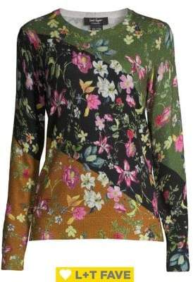 Lord & Taylor Floral Colorblock Cashmere Sweater
