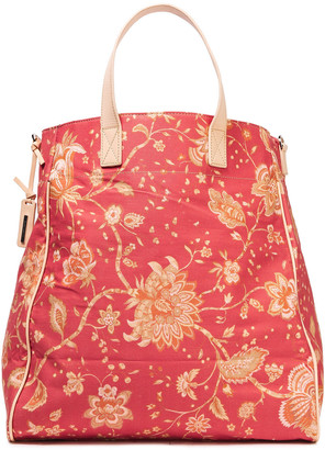 Zimmermann Leather-trimmed Printed Denim Tote