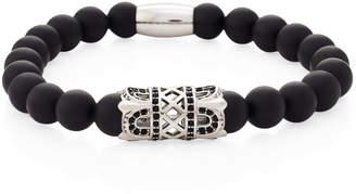 Jean Claude Black Onyx & Silver-Tone Stretch Bracelet