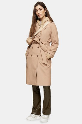 Topshop Womens Camel Trench Coat - Camel
