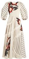 Roksanda Kayine Floral-print Linen-blend Dress - Womens - White Stripe