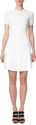Kenzo Lace Knit Short-Sleeve Keyhole Short Dress