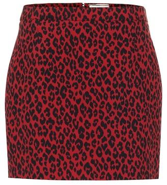 Saint Laurent Leopard-print wool miniskirt
