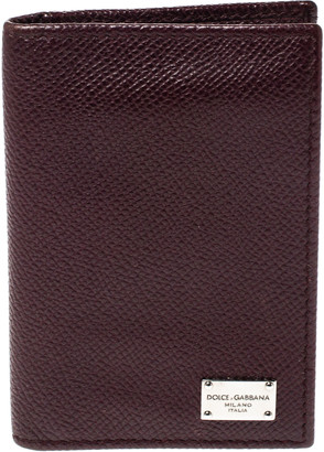 Dolce & Gabbana Dark Burgundy Leather Bifold Card Holder