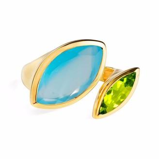 Neola Celestine Gold Ring Chalcedony & Peridot
