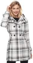 Iz Byer Juniors' Double Breasted Hooded Coat
