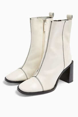 Topshop Womens Homerun White Leather Boots - White