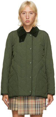 Burberry Green Quilted Cotswald Jacket